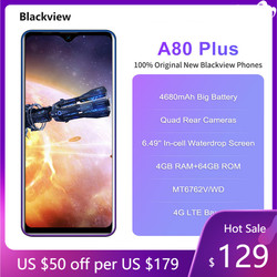 Blackview A80 плюс 4 Гб Оперативная память 64 Гб Встроенная память MT6762D Octa Core Android 10,0 смартфон 13MP Quad Камера 4680 мА/ч, 4G, NFC 6,49 ''мобильный телефон