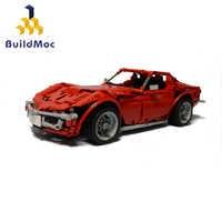 BuildMoc-Creator-coche deportivo rojo para niños, juguete de bloques de construcción, Technicle, coche iluminador