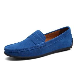 Image 4 - Üzerinde kayma erkek loaferlar deri süet ayakkabı erkekler rahat moccasins Hombre mokasen tekne ayakkabı mokasen adam sürüş yaz Loffers beyaz 47