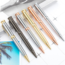 Brand 1.0mm Grid Metal Roller Ball Pen Luxury Ballpoint Pen for Business Writing Gift Office School Supplies Black Ink Refills
