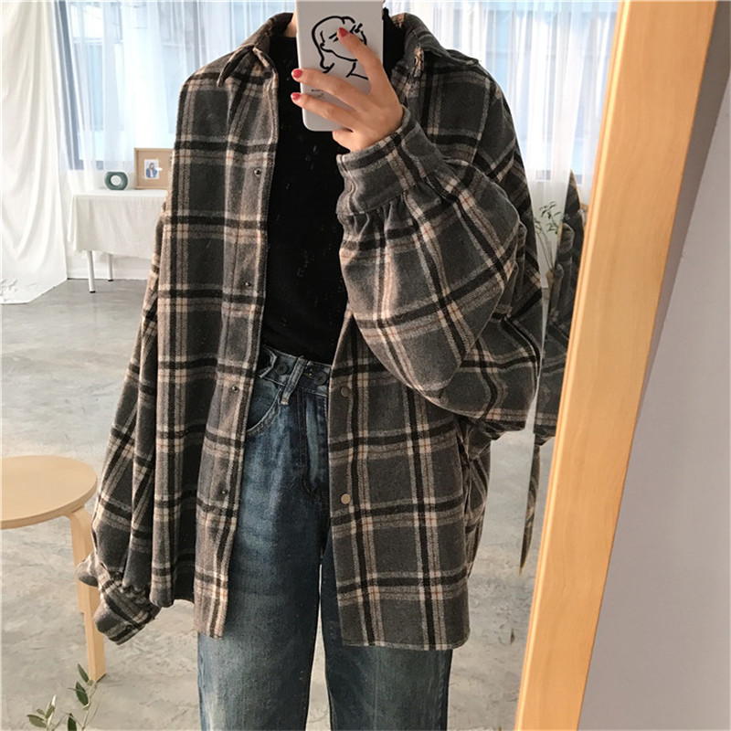 spring autumn women plaid coat turn down collat long sleeve cardigans loose jacket outwear plus size single breasted P693