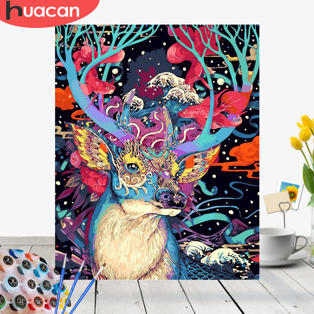 HUACAN Pictures By Numbers Deer Animals HandPainted Kits Drawing Canvas Oil Painting Home Decoration DIY Gift