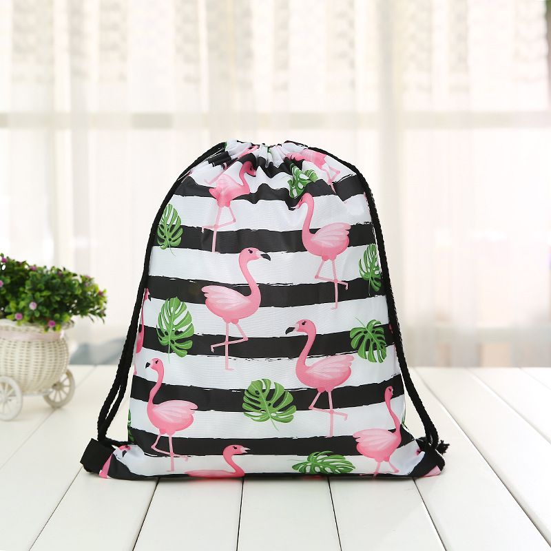 Fashion Drawstring Backpack Women Printing Clover Travel Softback Men Drawstring Bags Unisex  Shoulder Bunches Flamingo Bags New