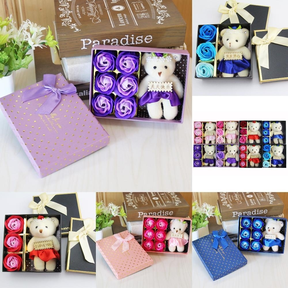 Eternal Life Teachers Day Gifts Mothers Day Rose Flower Soap Valentines Day Hand Washing Soap Flower Bear Gift Box
