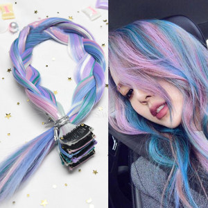 AIYEE Hair Extensions Pure RainBow Hairpiece Clip In Hair Piece Synthetic Long Straight Ombre Pink Red Rainbow Hair Piece