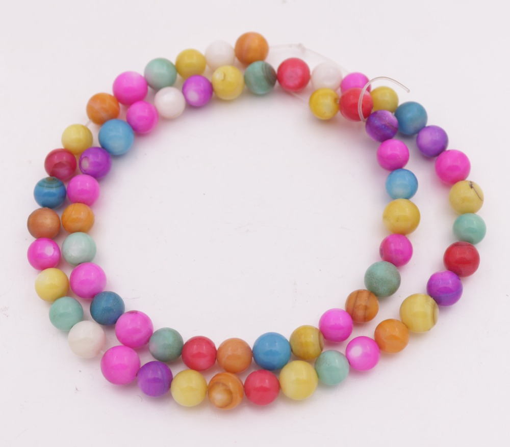 "Купить с кэшбэком Round Shell Loose Beads  Natural White Mother of Pearl Multi-color 15"" Jewelry Making DIY 3.5mm 4mm 6mm"