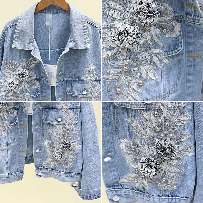 2020 Spring Autumn Korean Loose Jean Coat Girls Lady Three-dimensional Embroidery Flower Jeans Jacket Women's Leisure Denim Coat