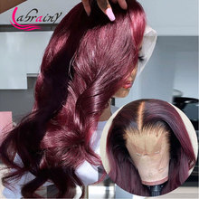 HD Lace Front Human Hair Wigs 30 inch Glueless 99J Red Body Wave Lace Frontal Wig Burgundy Pre Plucked Baby Hair Bleached Knots