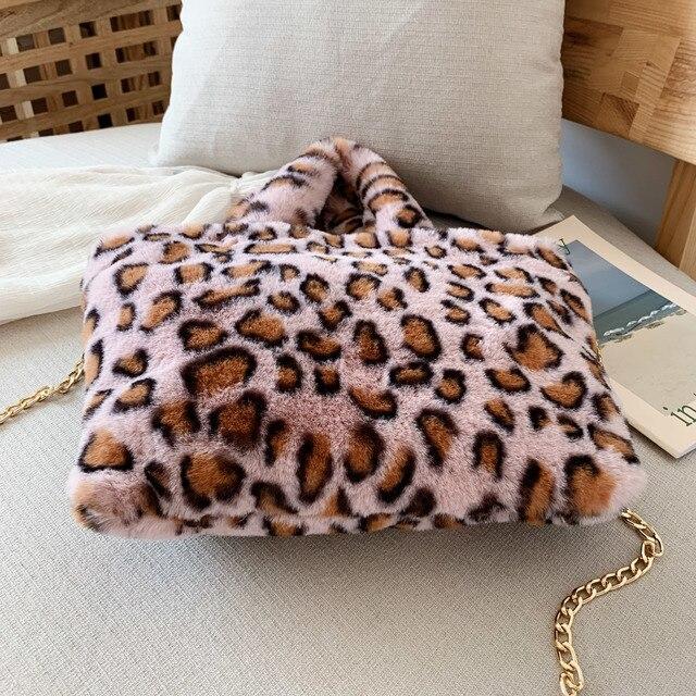 Winter new fashion shoulder bag female leopard female bag chain large plush winter handbag Messenger bag soft warm fur bag 4