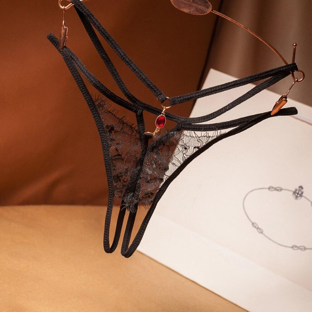 Frauen Sheer Mesh Dessous Briefs Aushöhlen Strappy Spitze Floral Unterwäsche G-String Kristall Anhänger