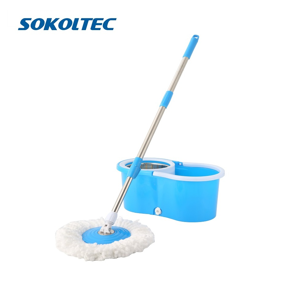 Sokoltec Spin Mop Easy Wring Microfiber Cleaning System Stainless Steel 360 Spin Dry Mop Bucket Washable Hardwood Floor Clean