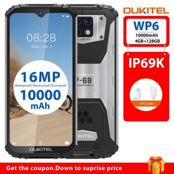 OUKITEL WP6 Smartphone 4GB 128GB Octa Core 10000mAh Battery Rugged IP68 Waterproof Mobile Phone 16MP Triple Cameras 6.3'' FHD
