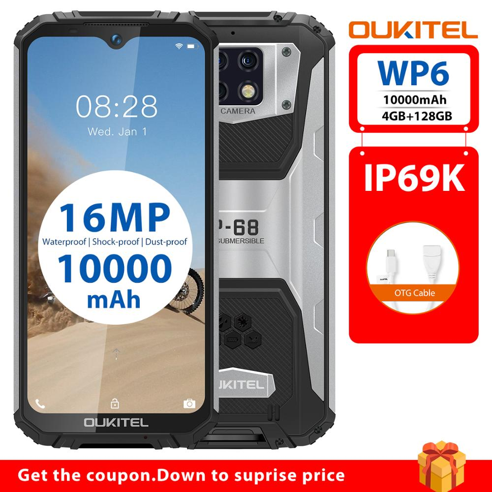 4GB 128GB Octa Core <font><b>10000mAh</b></font> Battery OUKITEL WP6 <font><b>Smartphone</b></font> Rugged IP68 Waterproof Mobile Phone 16MP Triple Cameras 6.3'' FHD image