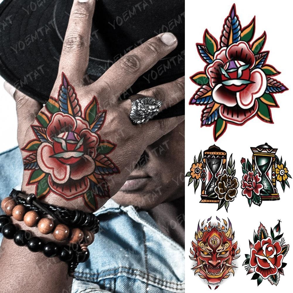 Waterproof Temporary Tattoo Sticker Color Old School Fake Tatto Flash Tatoo Hand Arm Skull Rose Tato Body Art For Women Men Sementara Tato Aliexpress