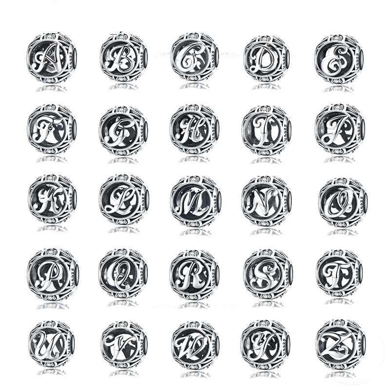 Wostu authentic 925 prata esterlina vintage A-Z letra alfabeto encantos caber charme original pulseiras & bangles jóias de prata
