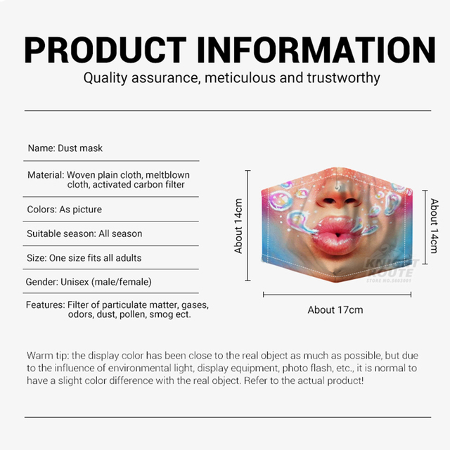 Motorcycle Face Mask Protection Mouth Caps Balaclava Dust Face Shield Digital Printing Activated Carbon Filter Moto Reusable 4