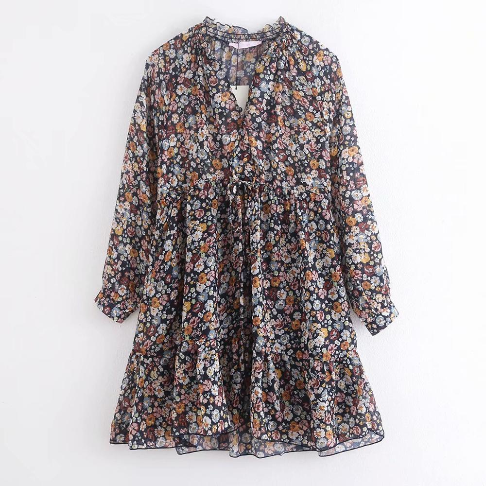 2020 Spring Women V Neck Flower Print Casual Mini Dress Ladies Drawstring Chiffon Vestidos Chic Pleated Ruffles Dresses DS3310