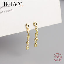 WANTME S925 Silver Tassel Bean Beads Drop Earrings for Women Bohemian Real Sterling Silver 18k Gold Plated Fashion Party Jewelry