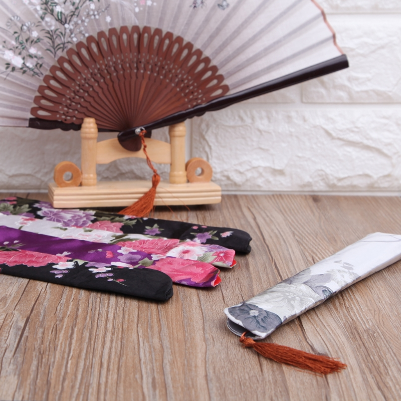 Elegant Silk Hand Fan Bag Holder Pouch Folding Hand Fan Case Party Wedding Bags