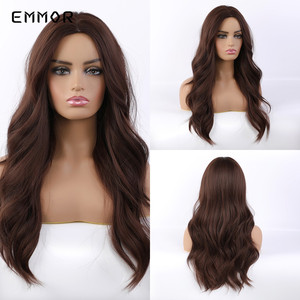 Emmor Synthetic Long Brown Wave Heat Resistant Wigs Glueless Natural Wavy Cosplay Party Daily Wig for African American Women