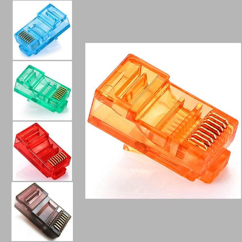 Cabos rj45 dourados 20/100 peças, conector de rede ethernet RJ-45 cabeças de cristal cat5 coloridas cat5e cabo banhado