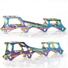 Roller skate banana frame 7075 liga de alumínio inline lâmina skate sapatos cremalheiras suportes 219mm 231mm 243mm com 8 pces machados