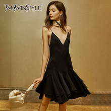 TWOTWINSTYLE Elegnat Asymmetrical Dresses Female V Neck Sleeveless Spaghetti Str