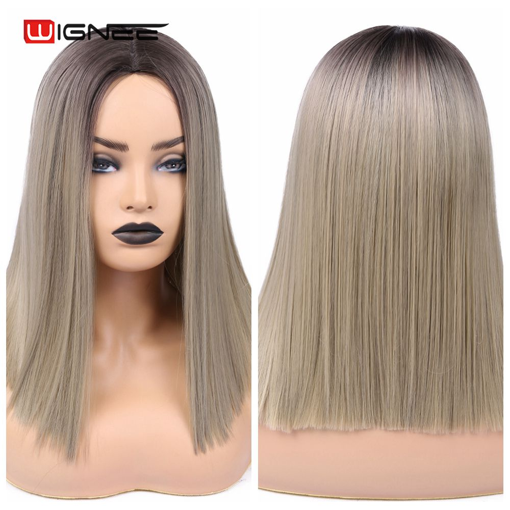 H837ce1628f624dbdafca983c69bad61cr - Wignee 2 Tone Ombre Brown Ash Blonde Synthetic Wig for Women Middle Part Short Straight Hair High Temperature Cosplay Hair Wigs