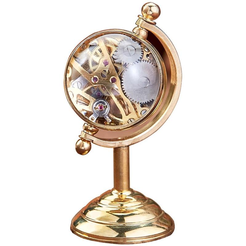 Antique Skeleton Mechanical Pocket Watch Men Gold Relogio De Bolso Mechanical Globe Earth Reloj Transparent Collection Display
