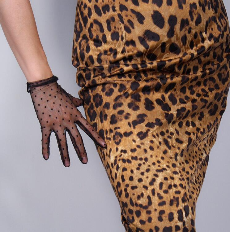 Women's Sexy Transparent Dot Print Black Mesh Glove Female Summer Sunscreen Club Party Dancing Glove R1909