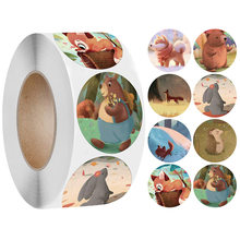 Dia 2.5cm Gift Box Stickers Sealing Label Scrapbooking Stickers Round Decorative Cute Animal Sticker for Birthday