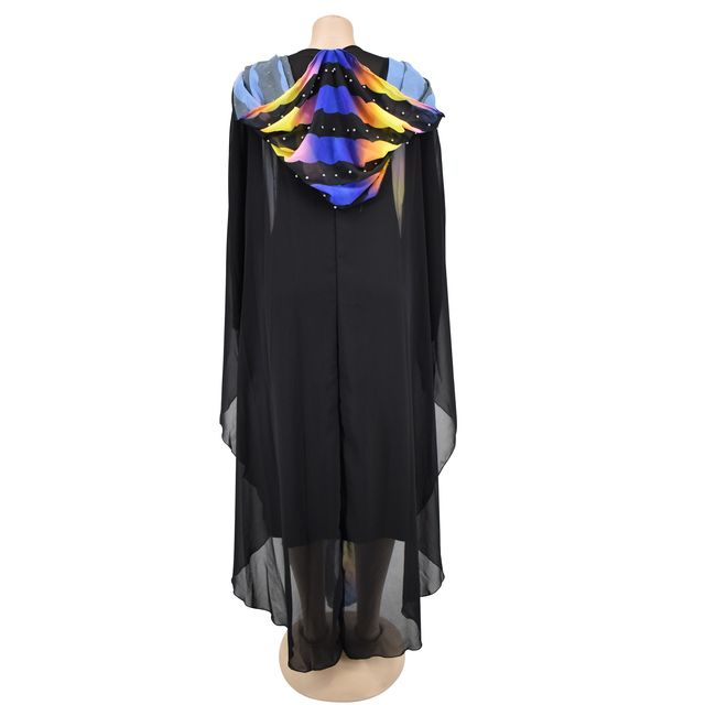 tilapia coloful striped chiffon abaya dress with hood plus size summer maxi long gowns with long inner wear