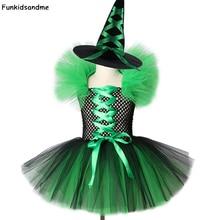Vestido verde y negro con tutú de bruja para niña, traje de bruja para Halloween, Carnaval, Cosplay, vestidos de fiesta para niña de 2 a 12 años