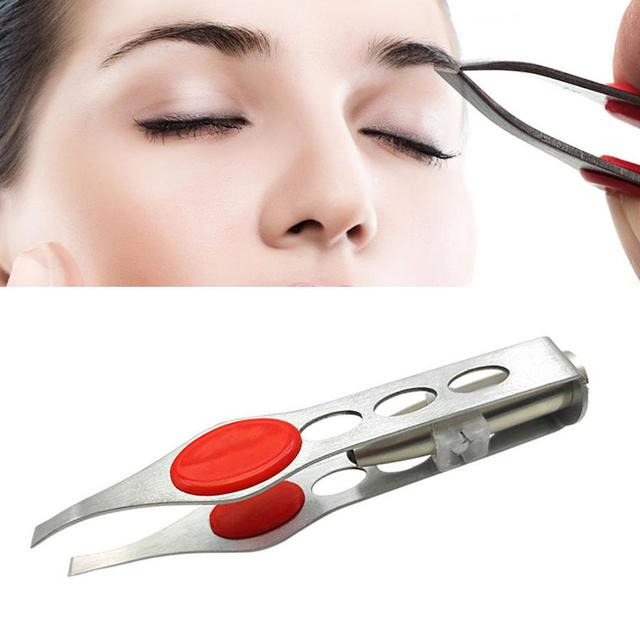 Mini Light  Removal pince a epiler Tweezer Clip Make Up Stainless Steel Four Hole LED Light Eyebrow Clip Hair Removal Tweezers