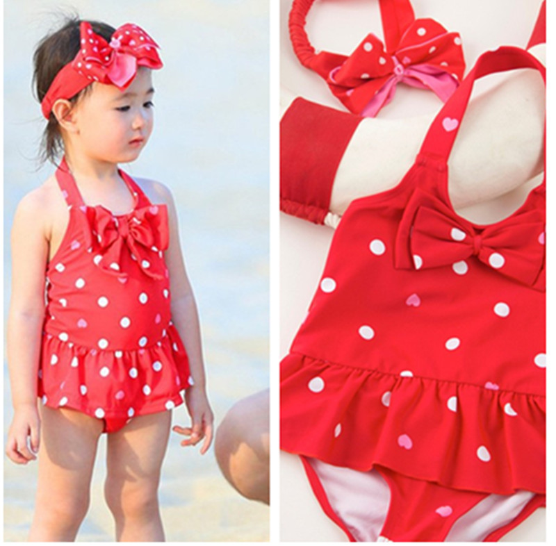 Olivia Celebrity Style KID'S Swimwear Cute Girls Baby Dress-Tour Bathing Suit With Hair Band Swimwear Dance