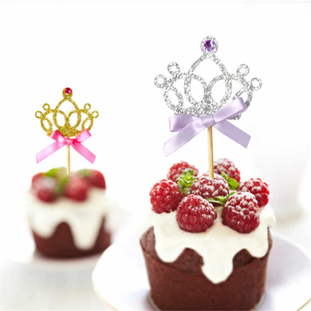 10 шт. милые золотые и серебряные украшения для торта в форме короны с бантом, украшения для торта, украшения для детского дня рождения, свадьбы, торжества, вечерние принадлежности