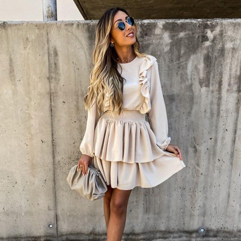 Delle donne di Autunno A Maniche Lunghe Ruffles Dress 2020 Solido di Inverno Sottile Casual Backless del Vestito Elastico In Vita UNA Linea di Colore Rosa Del Partito di Abiti 1