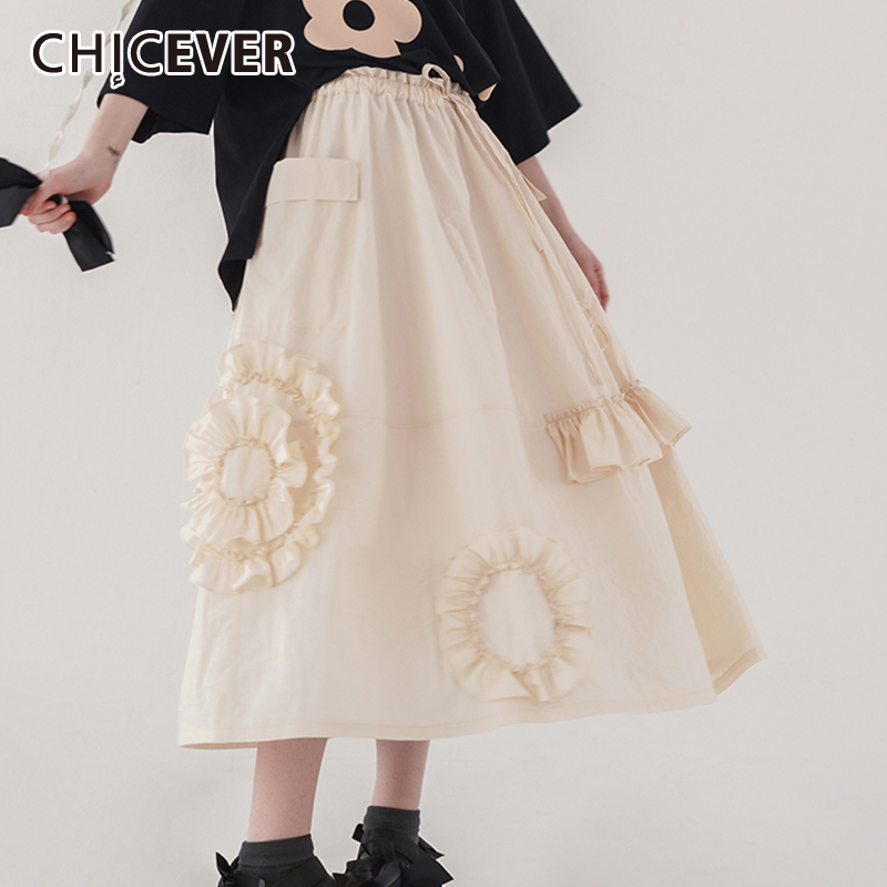 CHICEVER Korean Patchwork Ruffle Women's Skirt High Waist Pocket Tunic Ruched Mini Skirts Female 2020 Summer Fashion Clothes New
