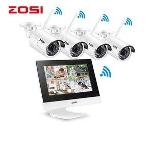 "Image 1 - ZOSI 4CH CCTV מערכת אלחוטי 960P 10 ""LCD NVR אבטחת מצלמה מערכת 1.3MP IR חיצוני P2P Wifi IP מצלמה מעקב ערכת 500GB"