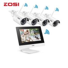 "ZOSI 4CH CCTV System Wireless 960P 10"" LCD NVR Security Camera System 1.3MP IR Outdoor P2P Wifi IP Camera Surveillance Kit 500GB"
