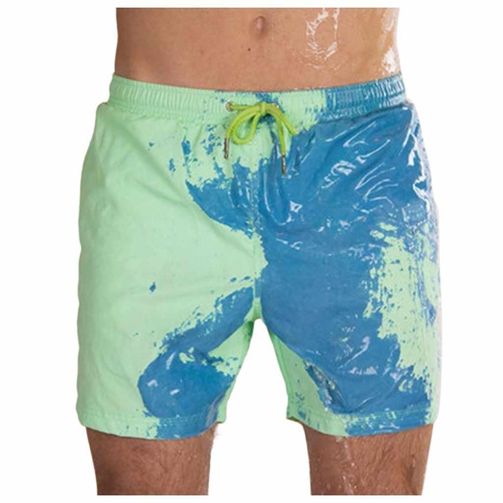 الصيف الرجال سروايل السباحة القصيرة حساسة للحرارة اللون تغيير بناطيل الشواطئ السباحة جذوع السراويل اللون تغيير ملابس السباحة