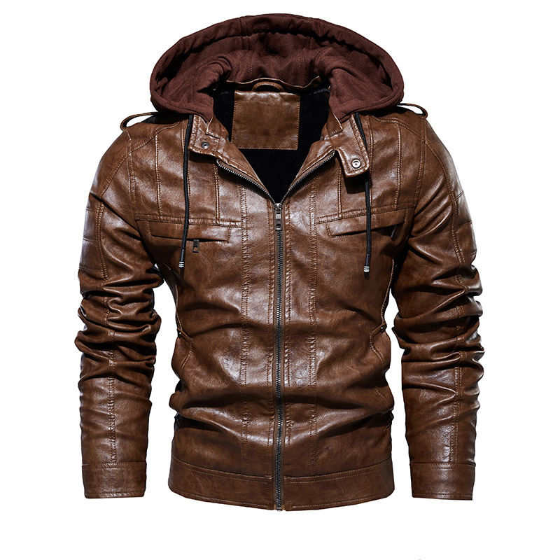 2020 Men Vintage Motorcycle Jacket Mens Outdoor Casual PU Leather Jacket Man Winter Coat Hooded Collar Club Bomber Jackets 2