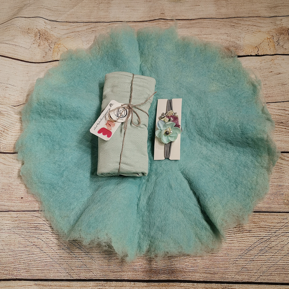 Handcraft Wool Felted Round Blanket+ 45*160cm Stretch Breathable Wrap+matched Cotton Headband For Newborn Photography Props