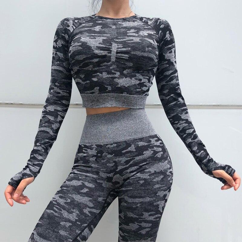 HOT Women Skinny Yoga Sets Camouflage High Sport9s