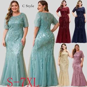 Image 4 - Plus Size Sequined Evening Dresses Long Ever Pretty O Neck Half Sleeve Mermaid Abiye Sexy Elegant Party Dresses Robe De Soiree
