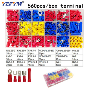 Image 3 - Box assorted full insulated fork U type set terminals connectors assortment kit electrical wire crimp spade ring terminal