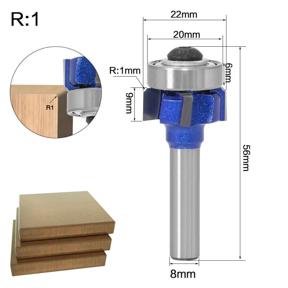 1PC8mm Shank high quality Woodworking Milling Cutter R1mm R2mm R3mm Trimming Knife Edge Trimmer 4 Teeth Wood Router Bit