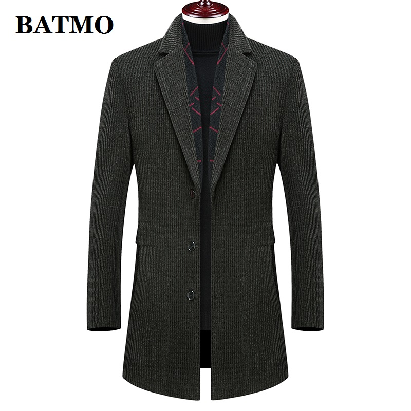 Batmo 2019 new arrival winter high quality wool thicked casual trench coat men,men's winter warm coat,winter jackets men 895