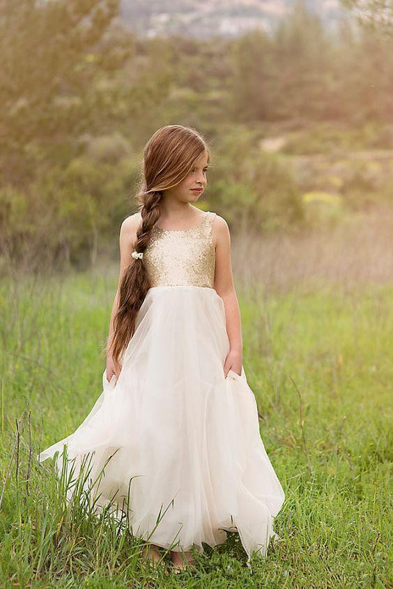 Cute 2019   Flower     Girl     Dresses   For Weddings A-line Tulle Sequins Sparkle Backless Long First Communion   Dresses   Little   Girl