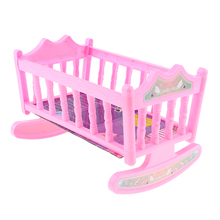 Schaukeln Wiege Krippe Bett Baby Schlafzimmer Möbel Zubehör für 20cm Puppen Rosa